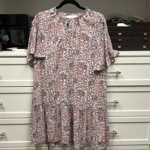 floral print shift dress with button detail